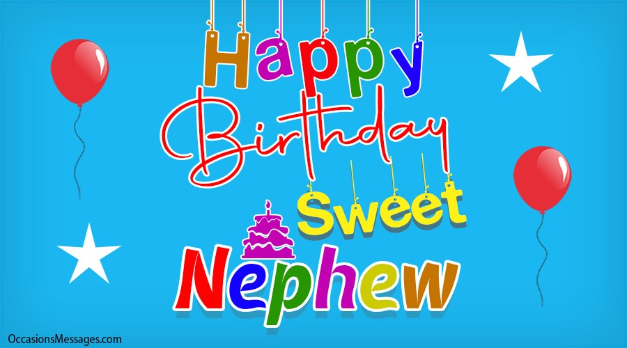 Happy Birthday sweet nephew with balloons and stars