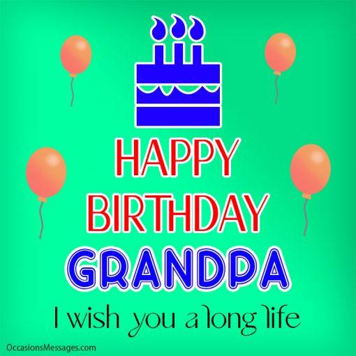 Happy birthday grandpa. I wish you a long life.