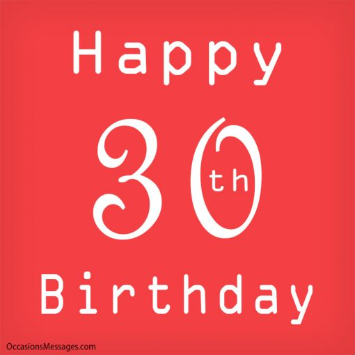 Happy 30th Birthday with red background