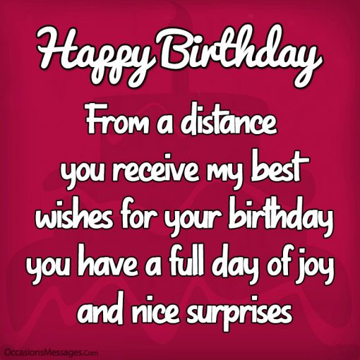 From a distance you receive my best wishes for your birthday