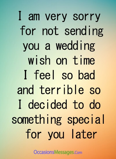 I am very sorry for not sending you a wedding wish on time, I feel so bad and terrible, so I decided to do something special for you later.