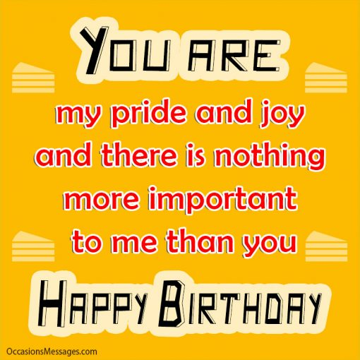 You are my pride and joy dear daughter and there is nothing more important to me than you. Happy Birthday.