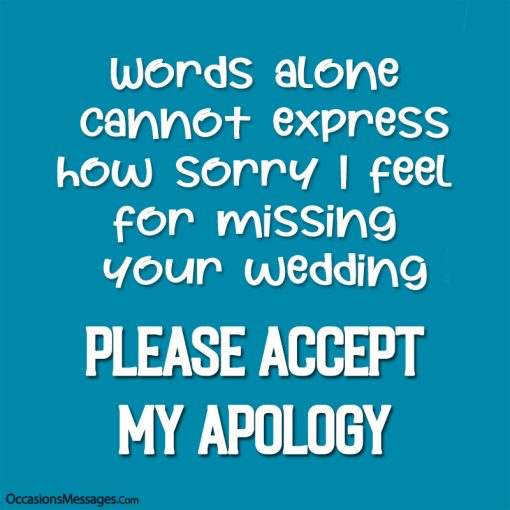 Words alone cannot express how sorry I feel for missing your wedding