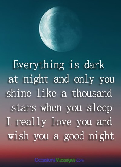 Everything is dark at night, and only you shine like a thousand stars when you sleep. I really love you and wish you a good night.