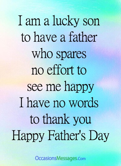 I am a lucky son to have a father who spares no effort to see me happy. I have no words to thank you. Happy Father's day from son.
